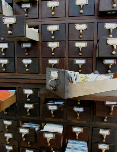 "The 50-drawer card catalog of ""The Alternet"" includes work by 75 artists."
