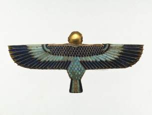 Amulet in the Form of a Ba as Human-Headed Bird. Reportedly from Saqqara, Egypt; Ptolemaic Period, 305?30 B.C.E. Gold, lapis lazuli, turquoise, steatite, 1¼ x 2 11/16 x ? in. (3.1 x 6.8 x 0.9 cm). Brooklyn Museum; Charles Edwin Wilbour Fund, 37.804E. (Photo: Brooklyn Museum)