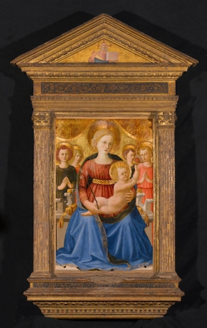 Zanobi Strozzi (Italian, Florentine, 1412–1468). Virgin and Child with Four Angels and the Redeemer, circa 1450. Tempera and tooled gold on panel, 31 x 20¼ in. (78.7 x 51.4 cm); frame (original): 59¼ x 36½ in. (150.5 x 92.7 cm). Brooklyn Museum; Gift of Mrs. Arthur Lehman, 53.189. (Photo: Sarah DeSantis, Brooklyn Museum)